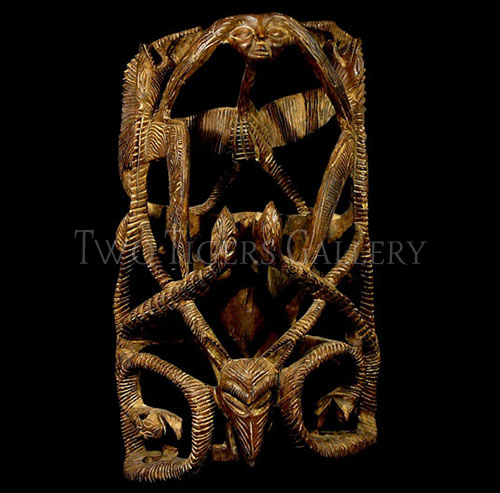 Tall Serpent Wood Mask